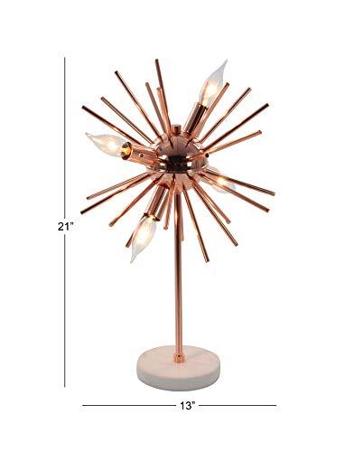 Deco 7967365De Mármol Y Hierro con Clavos Accent lámpara de Mesa, Cobre/Blanco