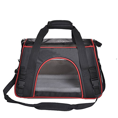 Soft Side Pet Carrier for Cats and Small Dogs, Comes with Shoulder Strap (Black)