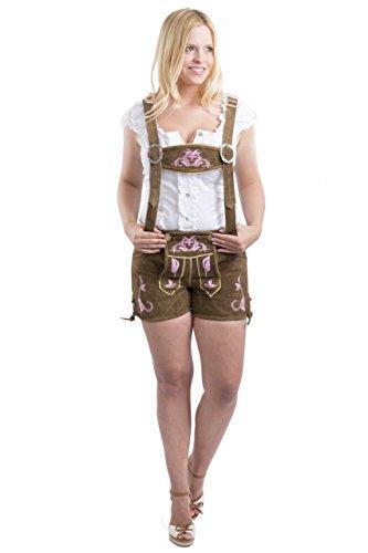 Damen Emma Trachten Lederhose kurz braun oder pink - Trachtenlederhose Hotpants Lederhose (34, pink)
