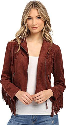 Brigitte Bailey Women's Eileen Fringe Micro Suede Jacket Wine Outerwear SM - Suede Fringe Jacket