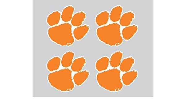 93eda1fe7f56 Amazon.com: Clemson Tigers Orange TIGER PAW Logo 4 Pack of 2