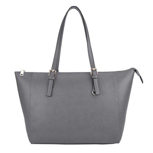 Handbags for Women,ZMSnow Vegan Leather Grey Classic Large Capacity Tote Bag for Travel Work
