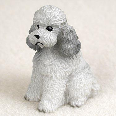 Poodle Sport Cut Miniature Dog Figurine - Gray