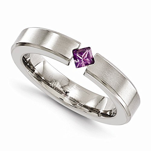 Edward Mirell Titanium Satin Finish Tension Set Amethyst Gemstone 4mm Wedding Band - Size 12 by Edward Mirell