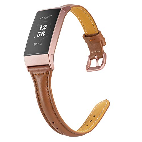 Wearlizer Compatible with Charge 3 Bands for Women Slim Leather Replacement for Charge hr 3 Special Edition Rose Gold Band Assesories Strap Brown ()