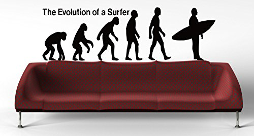 Surfer Evolution Surfing Wave Ocean Sea Beach Living Surfboard Wall Art Wall Decals Wall Stickers Decor Nursery Ideas Sticker Print - Surfboards Evolution Of