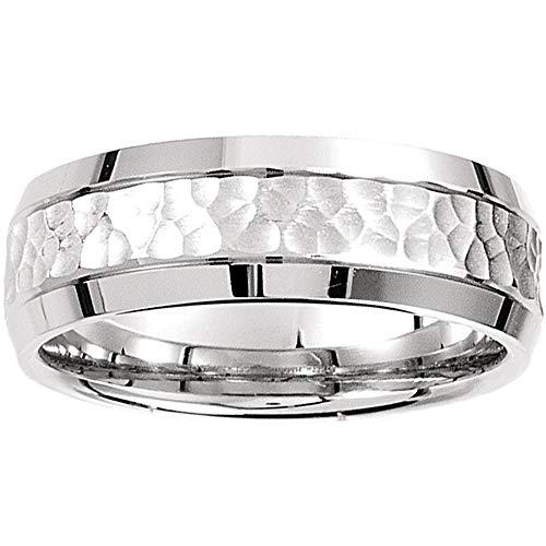 Mens 14k White Gold Hammered Beveled Edge 7MM Wedding Band Ring - Size 9