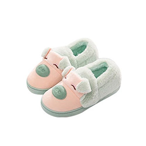 Giy Dames Heren Warme Winter Slippers Leuke Cartoon Indoor Paar Slippers Pluche Gezellige Antislip Pantoffel Groen