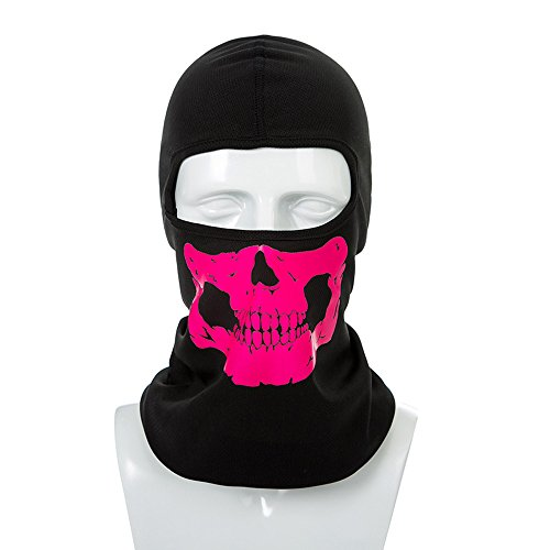 Balaclava Mask Ghost Skull Neck Face Thermal Under Helmet Protection Wind Stopper Quick Dry Light Reflection Warmer Mask Winter Outdoor Activities Ski Cycle Motorcycle Bike CS shooting (Red)