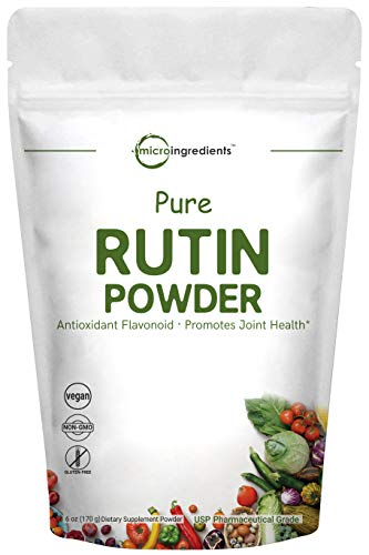 Micro Ingredients Pure Rutin Powder, 6 Ounce, Natural Citrus Bioflavonoid to Synergistically Scavenge Free Radicals and Powerfully Supports Cardiovascular Function, Non-GMO and Vegan Friendly