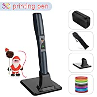 3D Pen for Kids, 3D Printing Drawing Printer Pen LED Screen Compatible with ABS & PLA Filament Pack of 12pcs 1.75mm Refills, 8 Speed Intelligent Temperature Control 3D Art Pen with Holder for Adults