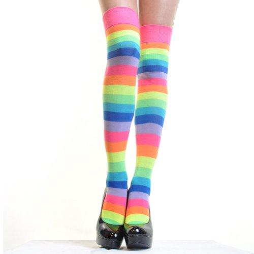 Angelina Neon Rainbow Thigh High socks, #6753A, One -