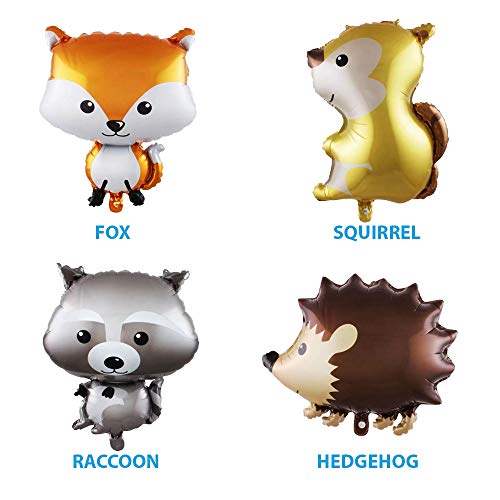 Set of 4 helium animal balloons: fox, squirrel, hedgehog, raccoon party decorations for woodland-themed baby shower or birthday -