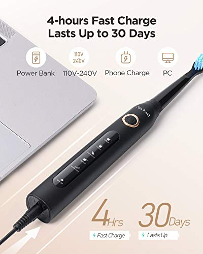 Fairywill Electric Toothbrush for Adults with 5 Modes, Smart Timer, 8 Brush Heads, Fully Rechargeable with One 4 Hr Charge Last 30 Days, Whitening Ultra Sonic Toothbrushes with A Travel Case in Black