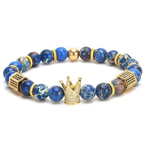 """SEVENSTONE 8mm Crown King Charm Bracelet for Men Women Black Matte Onyx Stone Beads, 7.5"""" from SEVENSTONE"""