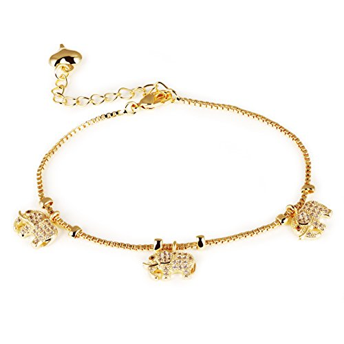 Women's 18K Gold Tone Lucky Zircon Elephant Charm Bracelets Adjustable L6.6+1.8
