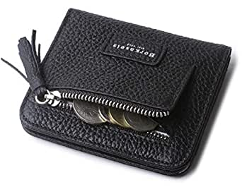 Women's Rfid Blocking Small Compact Bifold Leather Pocket Wallet Ladies Mini Purse with id Window - Black - Small