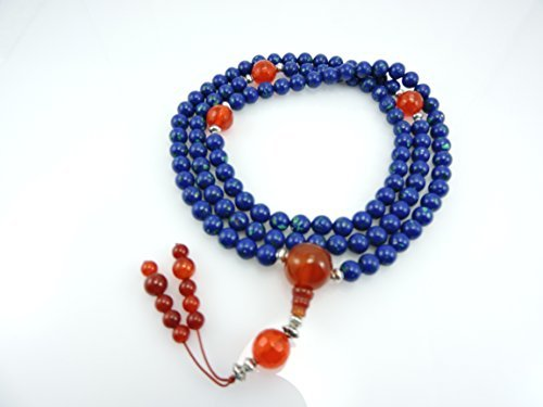 Tibetan Mala Azurite Mala 108 Beads with Carnelian Guru Bead and Tibetan Silver for Meditation by Hands Of Tibet