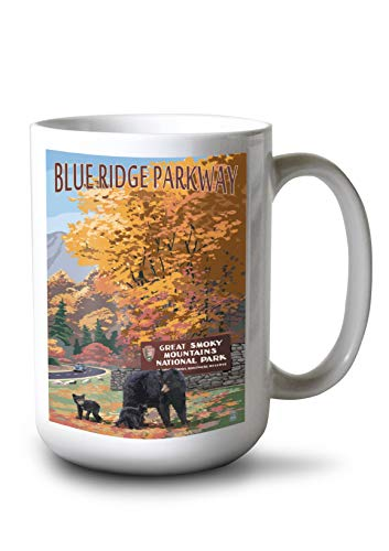 (Blue Ridge Parkway - Great Smokey Mountains Park Entrance and Bear Family (15oz White Ceramic Mug))