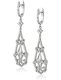S Silver, Cubic Zirconia Ornate Drop Earrings, 2.33 ct. tw.