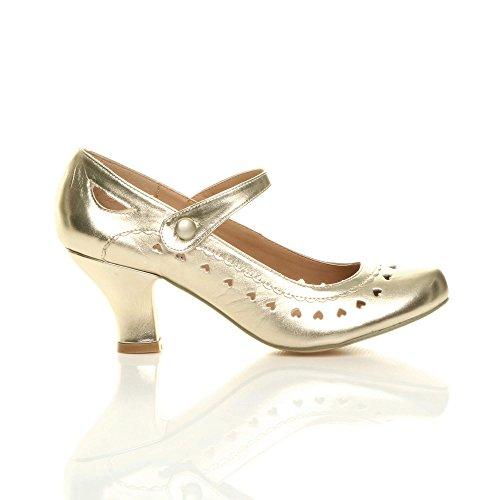 Ajvani Métallique babies Or Chaussures petit talon taille cœur escarpins classique femmes découpée rgrqPw