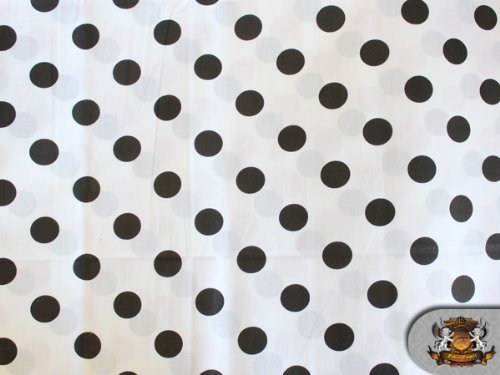 Polycotton Printed POLKA DOTS BLACK WHITE BACKGROUND Fabric By the Yard ()