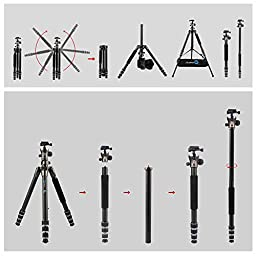 BONFOTO Carbon Fiber B671C Lightweight Portable Camera Travel Tripod Monopod with Ball Head for DSLR (Bronze Grey)