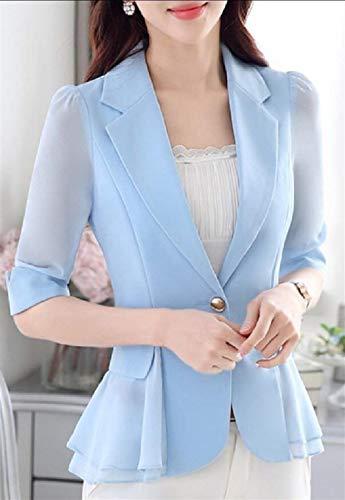 Bavero Bavero Coat Button Hellblau Volant Cappotto Con Casual Traslucido Donna Donna Donna Camicia Semplice Mezza Di Glamorous Manica Autunno Monocromo Moda Tailleur XwYTRFqU