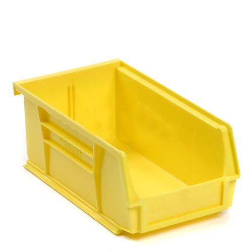Plastic Storage Bin - Parts Storage Bin - 4-1/8 x 7-3/8 x 3, Yellow - Lot of 24