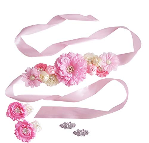 Baby Shower Maternity Wedding Bridal Sash Belt Floral Satin Sash with Shabby Chiffon Flowers and Rhinestones (Pink Set of 3)