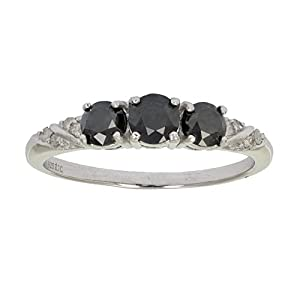 1 CT 3 Stone Black and White Diamond Ring Sterling Silver In Size 7