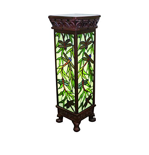 Yogoart Tiffany Style Stained Glass Dragonfly Floor Lamp Tiffany Glass Roman Column Lamp Handmade Colorful Lamp 30-inch Total Height for Living Room