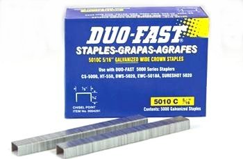 20 Pack Duo-Fast 5010C 5/16'' Length x 1/2'' Crown 20 Gauge Staples 5000 per Pack (4291)