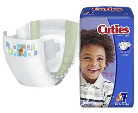 First Quality Cuties Diapers, Size 7, 41+ lbs. - Case of 80 by First Qaulity