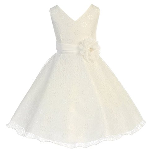 - iGirlDress Little Girls Lace Special Occasion Dress Sizes 4 Ivory