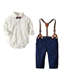 Happy Cherry Baby Boys Formal Suit Set Gentleman Outfits Suits with Suspender Pants