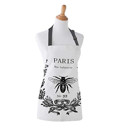 Family Decor Adjustable Bib Apron for Women Men Chef, Waterdrop Resistant Kitchen, Cooking and Baking Aprons, Paris Rue Lafayette Bee Wreath