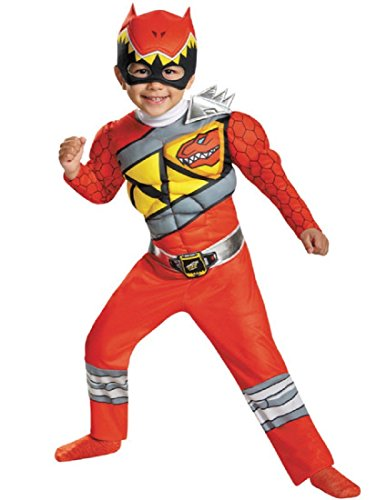 Disguise Red Ranger Dino Charge Toddler Muscle Costume, Medium (3T-4T) -