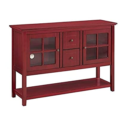 Amazon Com Modern Rustic Red Console Buffet Cabinet With 2 Framed