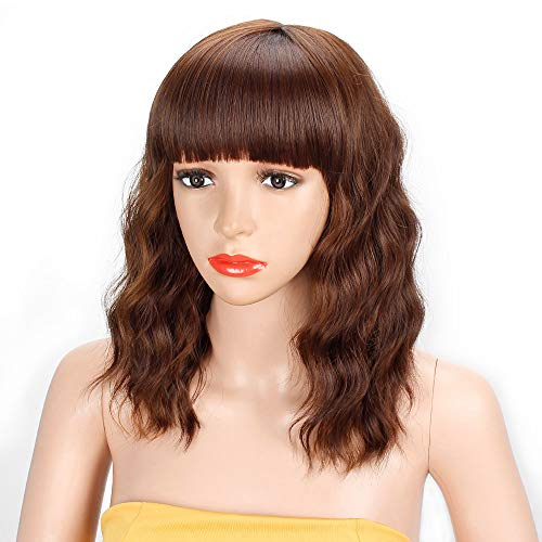 AISI HAIR Short Wavy Bob Wig with Bangs Colored Brown Mixed Blonde Short Curly Women Girl's Charming Synthetic Wig Natural Looking Full Head Hair Replacement Wig for Daily Wear or Costume Wig
