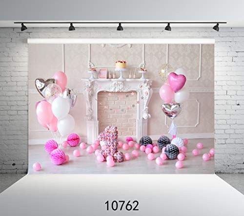 Damier 9ft(W) x 6ft(H) 1st Birthday Photography Backdrops Baby Girl Balloons Cupcakes Decoration Customized Photo Studio Props -