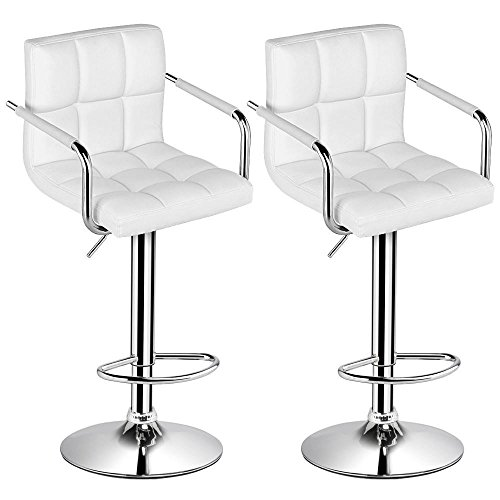 Yaheetech Bar Stools Set of 2 Modern Square PU Leather Adjustable BarStools Counter Stools With Arms and Back Bar Chairs Counter Height 360° Swivel Stool (Cream (Adjustable Height Square Stool)
