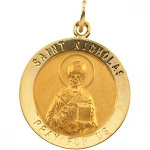 14K Gold Saint Nicholas Religious Medal - Solid 14k Yellow Gold, Just Under 3/4 Inch (18.0mm)
