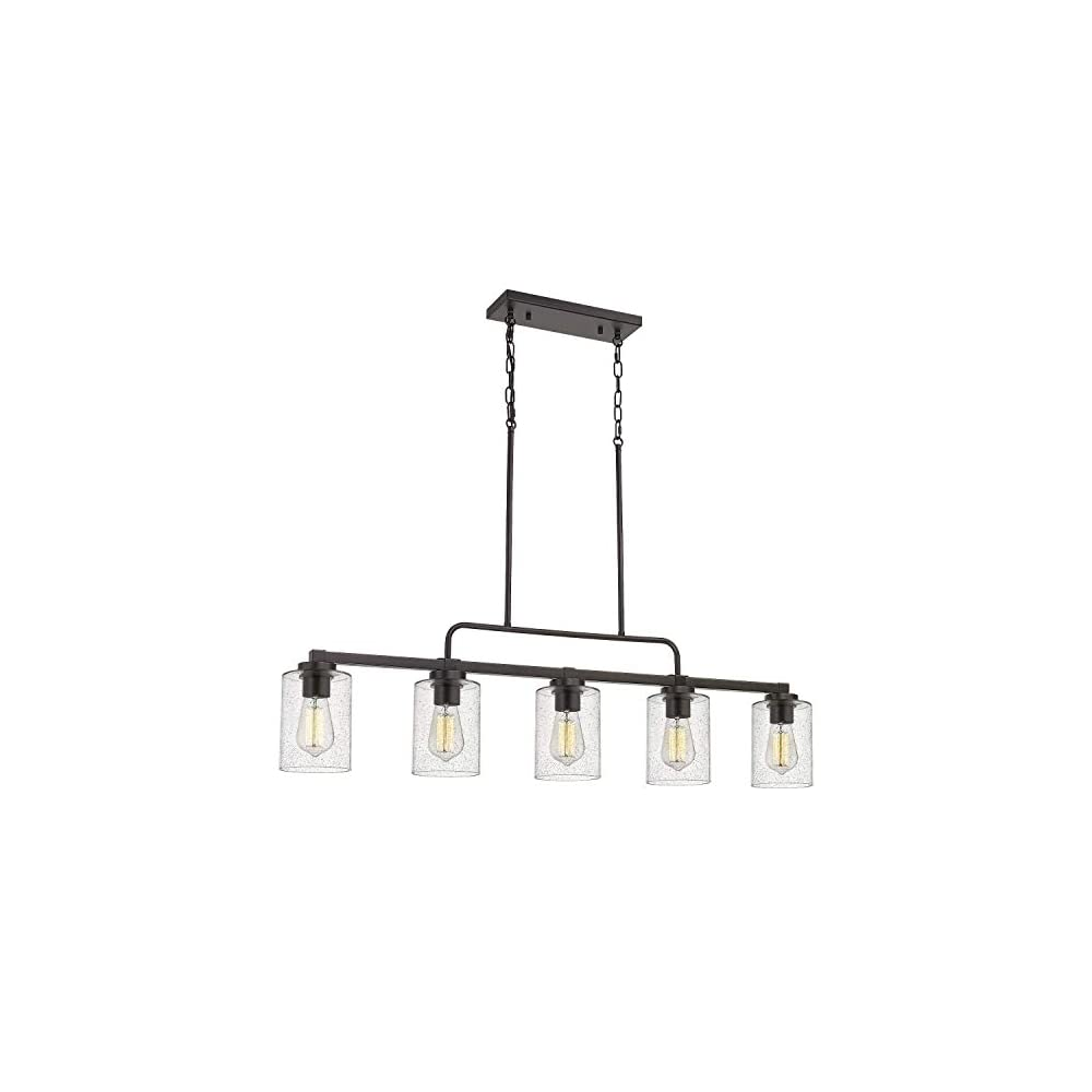 """Beionxii 5-Light Kitchen Island Light, 42"""" Farmhouse Linear Lighting Chandelier for Dining Room Pool Table Pendant Light, Oil Rubbed Bronze with Clear Seeded Glass"""