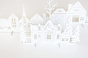 Amazon do it yourself christmas village medium density do it yourself christmas village medium density fiberboard village with 4 trees 4 solutioingenieria