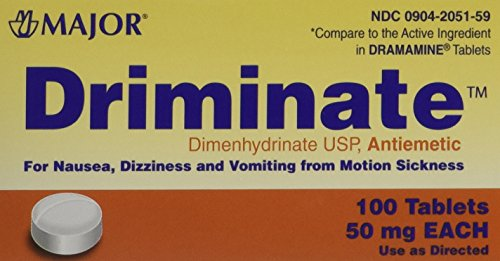 Driminate Generic for Dramamine Motion Sickness 50 mg Anti Nausea 100 ea PACK of 3