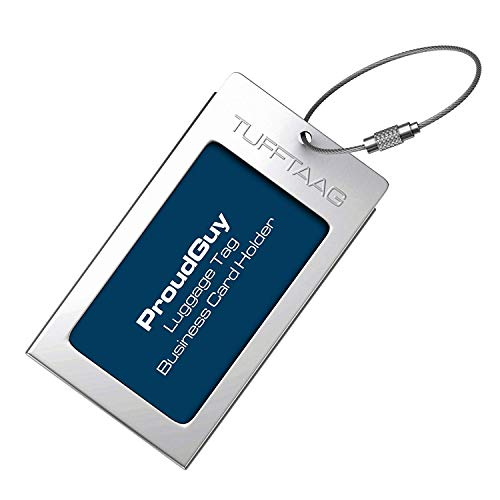 Luggage Tag Business Card Holder TUFFTAAG SINGLE Travel ID Bag Tag - Silver by ProudGuy