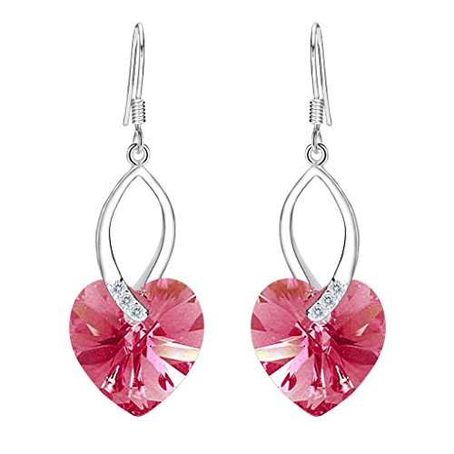EleQueen 925 Sterling Silver CZ Love Heart French Hook Dangle Earrings Pink Tourmaline Color Made with Swarovski Crystals ()
