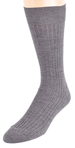 Marcoliani Men's ExtraFine Merino Mid-Calf Ribbed Dress Sock from Italy One Pair Flannel