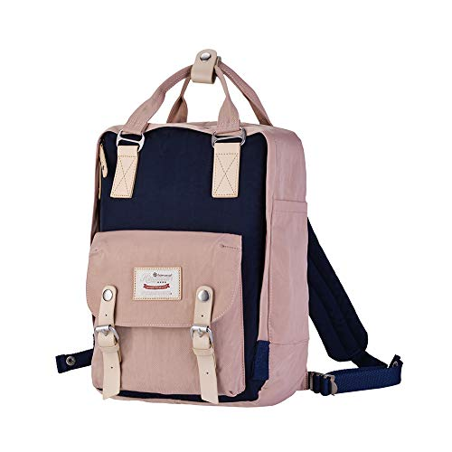 Himawari School Functional Travel Waterproof Backpack Bag for Men & Women | 14.9''x11.1''x5.9'' | Holds 13-in Laptop (Pink&Dark Blue) by Himawari